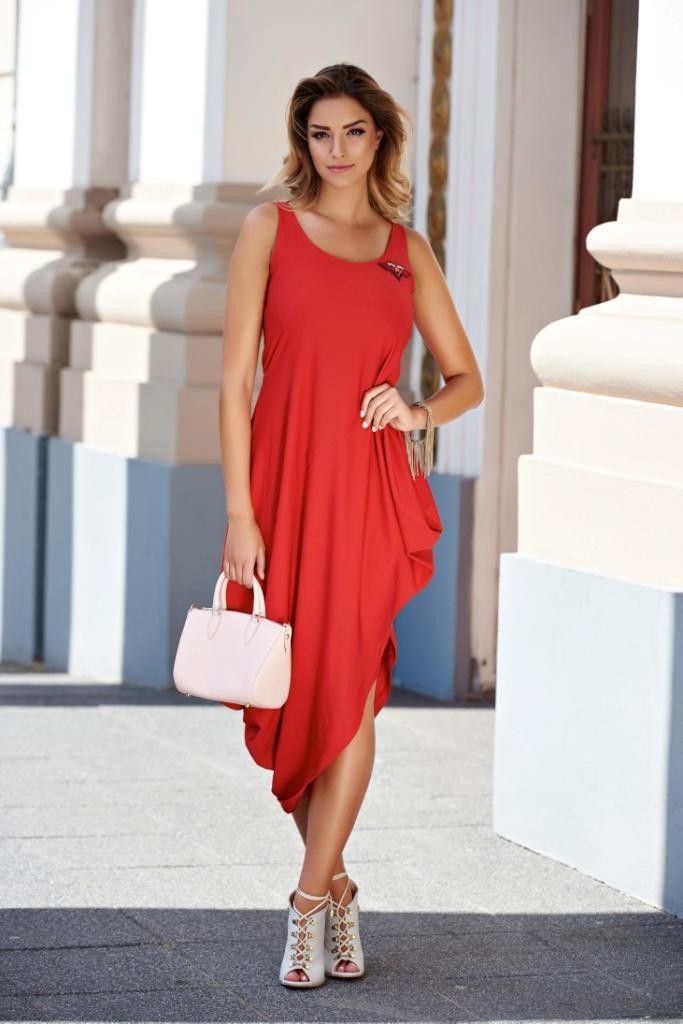 rochie rosie simpla eleganta