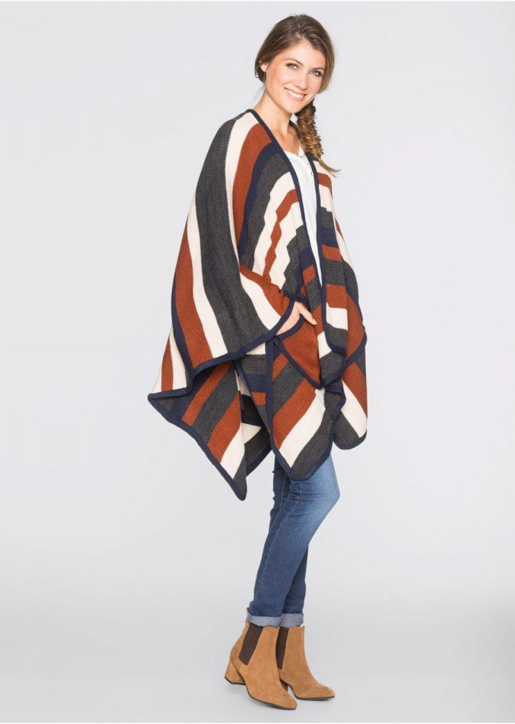 poncho tricotat cu buzunare