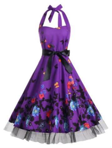 rochie mov înflorată