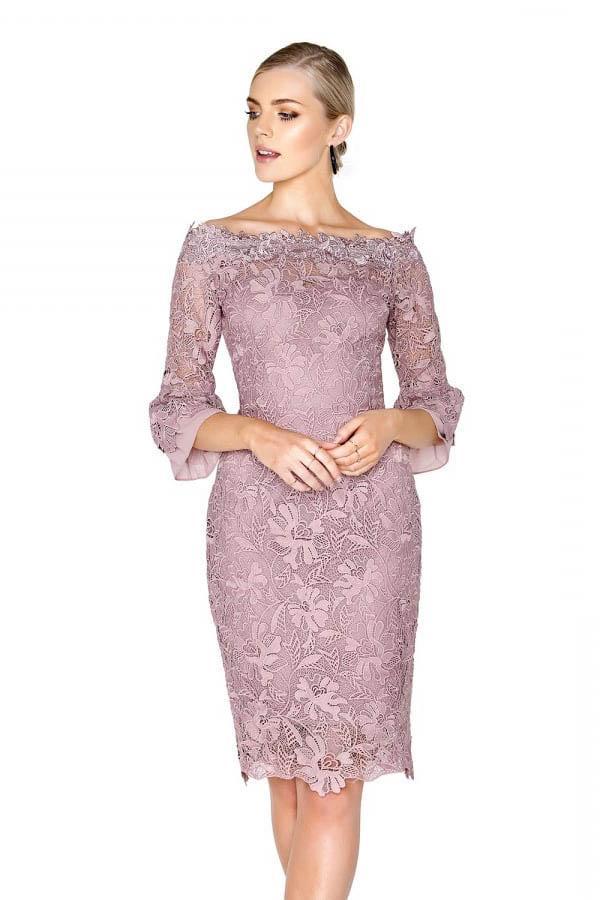 rochie elegantă dantelă lila